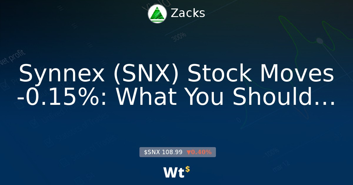 Synnex Snx Stock Moves 0 15 What You Should Know