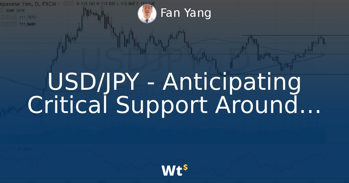 Thumbnail for USD/JPY - Anticipating Critical Support Around 111.70